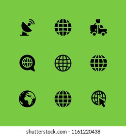 9 worldwide icons in vector set. satellite, globe, global and sphere illustration for web and graphic design
