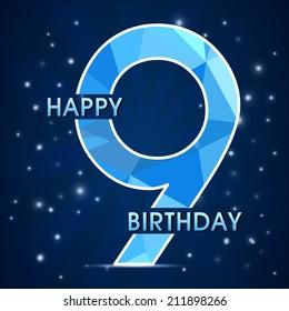 9 year birthday celebration label, 9th anniversary decorative polygon emblem - vector illustration