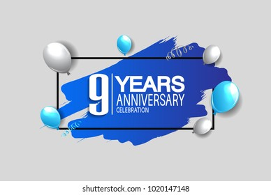 9 years anniversary celebration design with blue brush and balloons isolated on white background