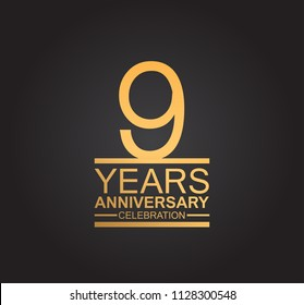 9 years anniversary celebration design with thin number shape golden color for special celebration event