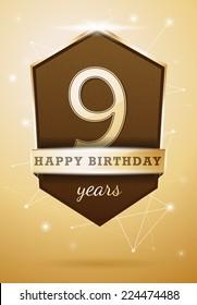 9 Years Anniversary Celebration Design Birthday Card