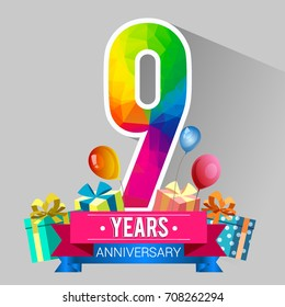 9 Years Anniversary Celebration Design, with gift box and balloons, red ribbon, Colorful polygonal logotype, Vector template elements for your birthday party.