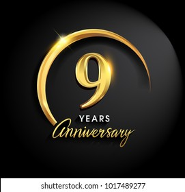 9 years anniversary celebration. Anniversary logo with ring and elegance golden color isolated on black background, vector design for celebration, invitation card, and greeting card