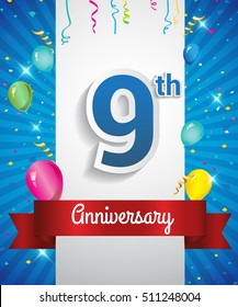 9 Years Anniversary celebration logo, with confetti and balloons, red ribbon, Colorful Vector design template elements for your flyer, banner and poster.