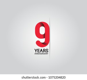 9 years anniversary celebration logotype. anniversary logo with red color isolated on white background, vector design for celebration, invitation card, and greeting card