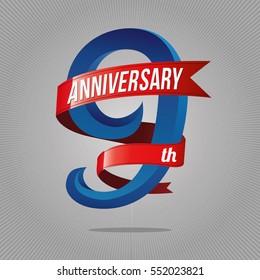 9 years anniversary celebration logotype. 9th logo, gray background