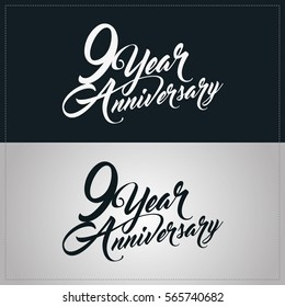 9 years anniversary celebration logotype, hand lettering