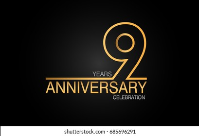 9 years anniversary celebration logotype. anniversary logo with golden and silver color isolated on black background, vector design for celebration, invitation card, and greeting card