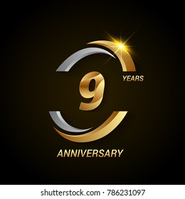 9 Years Anniversary Celebration Logotype. Golden Elegant Vector Illustration with Swoosh, Isolated on Black Background can be use for Celebration, Invitation, and Greeting card