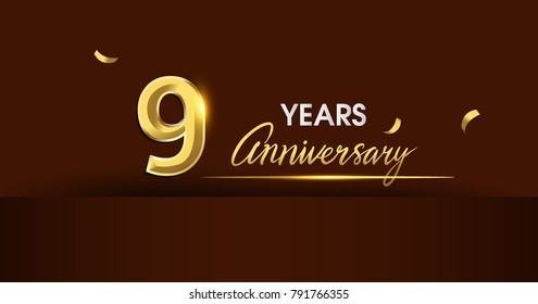 9 years anniversary celebration logotype. anniversary logo with golden color and gold confetti isolated on dark background, vector design for celebration, invitation card, and greeting card