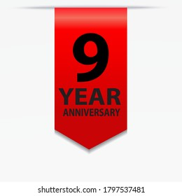 9 Years Anniversary Celebration Vector Template Design Illustration