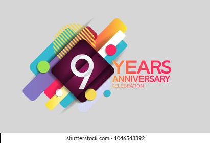 9 years anniversary colorful design with circle and square composition isolated on white background for celebration