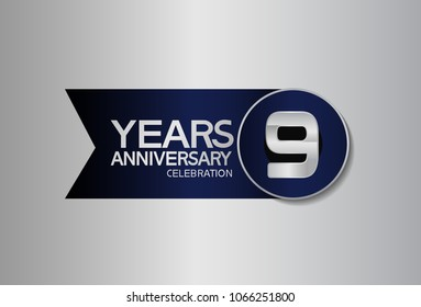 9 years anniversary design celebration silver with blue circle and ribbon isolated on silver background