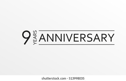 9 years anniversary emblem. Anniversary icon or label. 9 years celebration and congratulation design element. Vector illustration.
