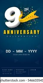 9 years anniversary invitation card - celebration template  design , 9th anniversary modern design elements, dark blue  background - vector illustration