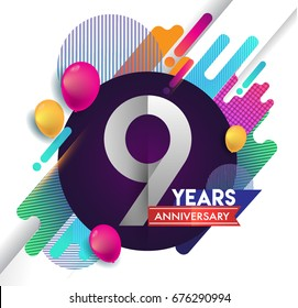 9 years Anniversary logo with colorful abstract background, vector design template elements for invitation card and poster your birthday celebration.