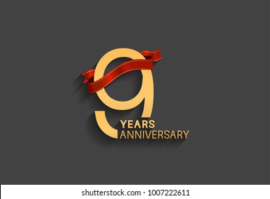 9 years anniversary logotype with red ribbon and golden color for celebration event