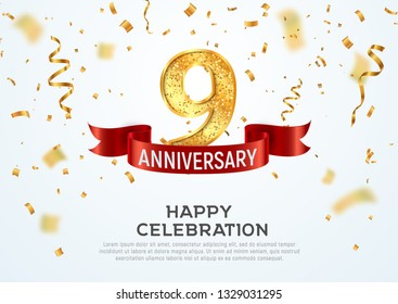 9 years anniversary vector banner template. Nine year jubilee with red ribbon and confetti on white background