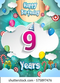9 Years Birthday Design for greeting cards and poster, with clouds and gift box, balloons. design template for anniversary celebration.