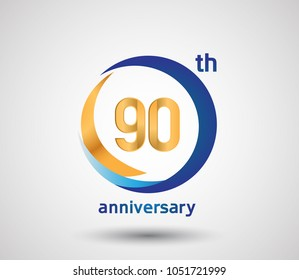 90 anniversary design with blue and golden circle isolated on white background for celebration