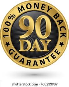 90 day 100%  money back guarantee golden sign, vector illustration
