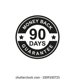 90 Days Money Back Guarantee Icon black Color