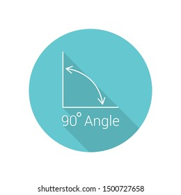 90 degree angle flat icon, isolated icon with angle symbol and text