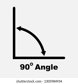 90 degree angle icon, isolated icon with angle symbol and text, vector illustration.