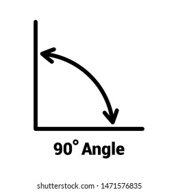 90 degree angle icon, isolated icon with angle symbol and text