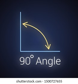 90 degree angle neon icon, isolated icon with angle symbol and text