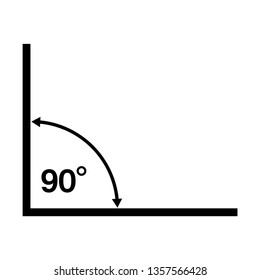 90 Degrees Angle Vector Icon Illustration