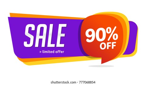 90 discount, Sales Vector badges for Labels, , Stickers, Banners, Tags, Web Stickers, New offer. Discount origami sign banner