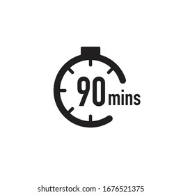 90 minutes timer, stopwatch or countdown icon. Time measure. Chronometr icon. Stock Vector illustration isolated on white background.