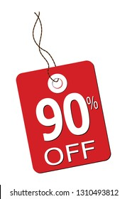 A 90% off label in red isolated on a white background