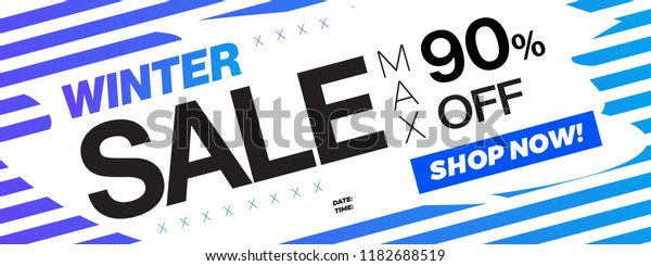 Up to 90% OFF Winter Christmas Sale Discount Coupon. Promotion Special Season Price Drop. Holiday Sale Banner, 90% Special Offer Ad. Discount Promotion Vector Banner.