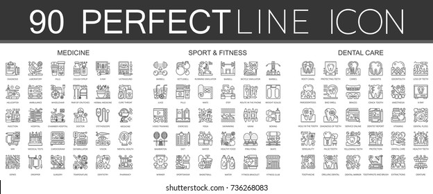 90 outline mini concept infographic symbol icons of medicine, sport and fitness, dental care.