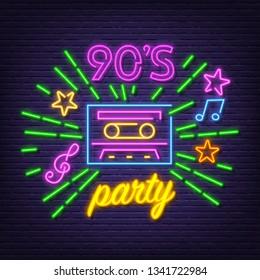 90 party neon symbol, vector neon glow on dark background