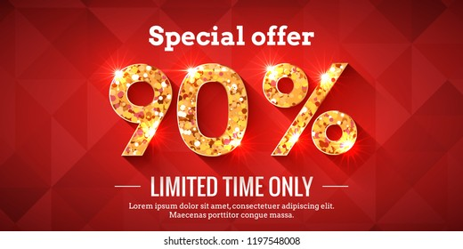 90 Percent Bright Red Sale Background with golden glowing numbers. Lettering - Special offer for limited time only