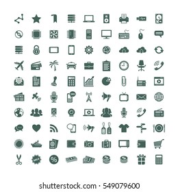90 universal Icons. Each icon is a single vector object