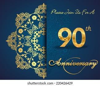 90 year anniversary celebration pattern design, 90th anniversary decorative Floral elements, ornate background, invitation card - vector eps10