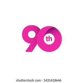 90 Year Anniversary Celebration Vector Template Design Illustration