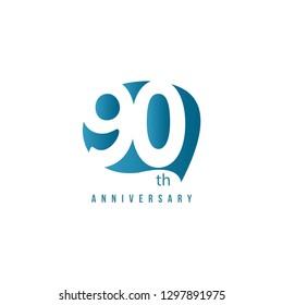 90 Year Anniversary Vector Template Design Illustration