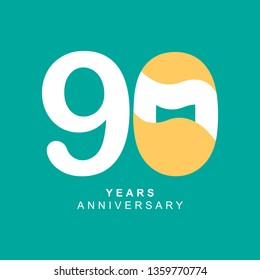 90 Year Anniversary Vector Template Design Illustration, with flat design.