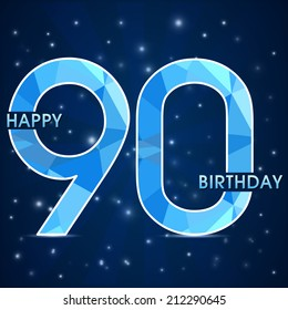90 year birthday celebration label, 90th anniversary decorative polygon emblem - vector illustration