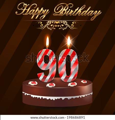 90 Year Happy Birthday Card With Cake And Candles 90th