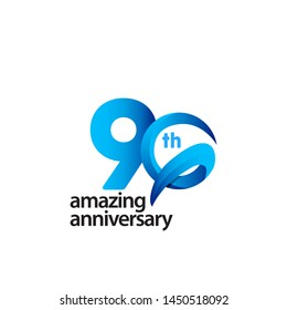 90 Years Amazing Anniversary Celebration Vector Template Design Illustration