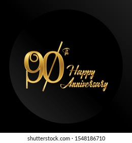 90 years Anniversary Celebrating golden text on black background. Vector template.