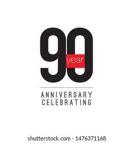90 Years Anniversary Celebrating Vector Template Design Illustration