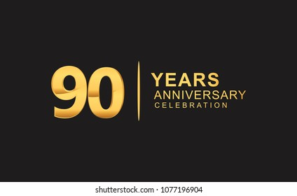 90 years anniversary celebration design with golden color isolated on black background for celebration event