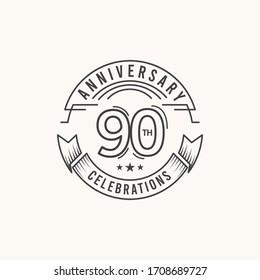 90 Years Anniversary Celebration Logo Vector Template Design Illustration